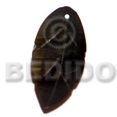 Black Lip Shell Leaf 15 inch Black Pendants - Shell Pendants BFJ5144P