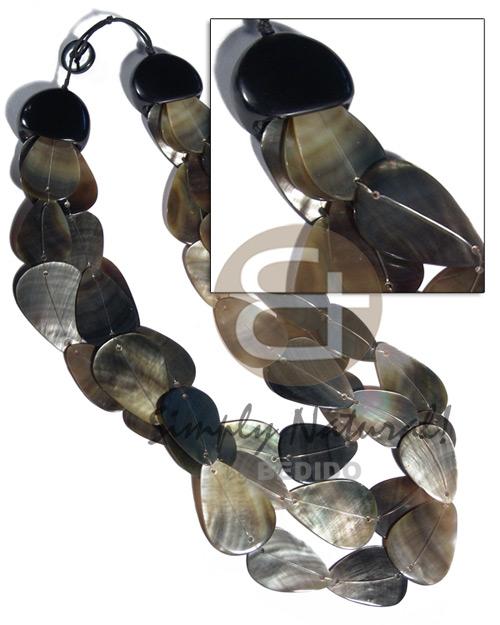 Black Lip Shell Multi Row Teardrop Shell Necklace BFJ3107NK