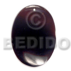 Black Tab Shell 40 mm Oval Black Pendants - Simple Cuts BFJ6209P