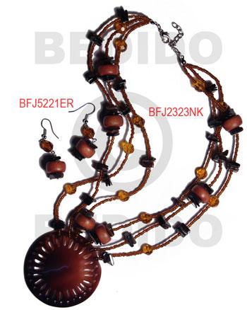 Black Tab Shell Wood Beads Glass Beads Black Brown Set Jewelry Earrings Necklace Set Jewelry BFJ003SJ