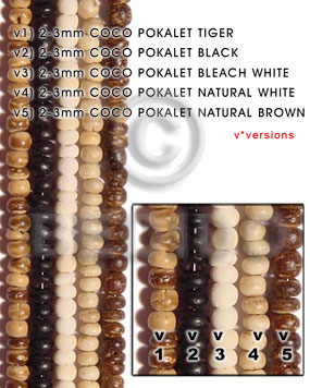 Bleached White 16 inches Coconut Pokalet 2-3 mm Bleached Coco Pokalet Beads BFJ001PT_V3