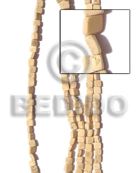 Bleached White 16 inches Coconut Square Cut 6 x 6 mm Bleached Coco Square Cut Beads BFJ007CSQ