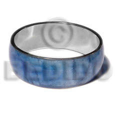 Blue Capiz Shell Laminated Stainless Metal 1 inch 65 mm Bangles - Shell Bangles BFJ117BL