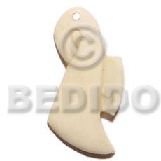Bone 45 mm Natural White Art Lady Pendants - Bone Horn Pendants BFJ5608P