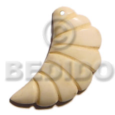 Bone Natural White 35 mm Carvings Pendants - Bone Horn Pendants BFJ5620P