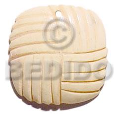 Bone Square 35 mm Carvings Natural White Pendants - Bone Horn Pendants BFJ5618P