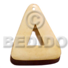 Bone Triangle 40 mm Natural White Pendants - Bone Horn Pendants BFJ5610P