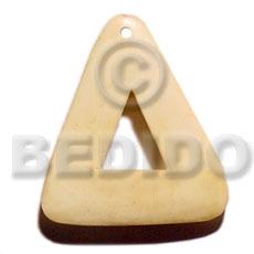 Bone Triangle 40 mm Natural White Pendants - Bone Horn Pendants BFJ5610P