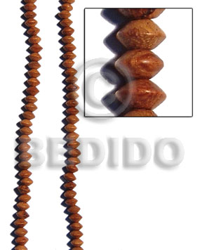 Brown 16 inches Bayong Wood Saucer 5 x 8 mm Natural Wood Beads - Saucer and Diamond Wood Beads BFJ019WB