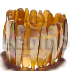 Brown Brown Lip Shell Resin Backing Elastic Bangles - Shell Bangles BFJ026BL