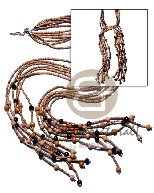 Brown Coconut Beads 2-3 mm Heishi Tiger Wood Beads 44 inches Multi Row Coconut Necklace BFJ1901NK