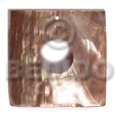 Brown Lip Shell 40 mm Square Brown Pendants - Simple Cuts BFJ6231P