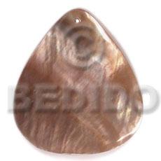 Brown Lip Shell 40 mm Teardrop Brown Pendants - Simple Cuts BFJ6251P