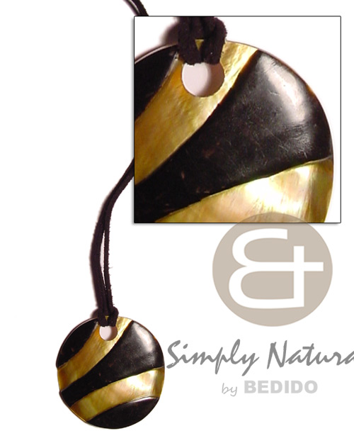Brown Lip Shell Leather Hand Painted Shell Necklace BFJ708NK