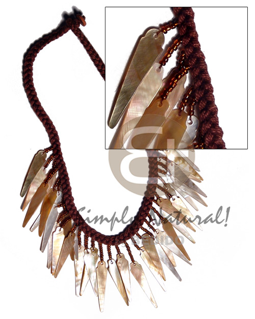Brown Lip Shell Macrame 32 mm 16 inches Shell Necklace BFJ2333NK
