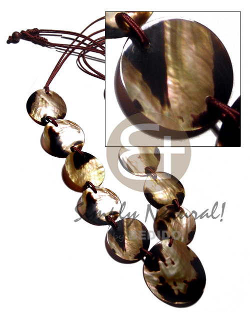 Brown Lip Tiger 50 mm Satin Cord 40 inches Shell Necklace BFJ2443NK