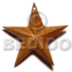 Brown Robles Wood Star 40 mm Pendants - Wooden Pendants BFJ5208P