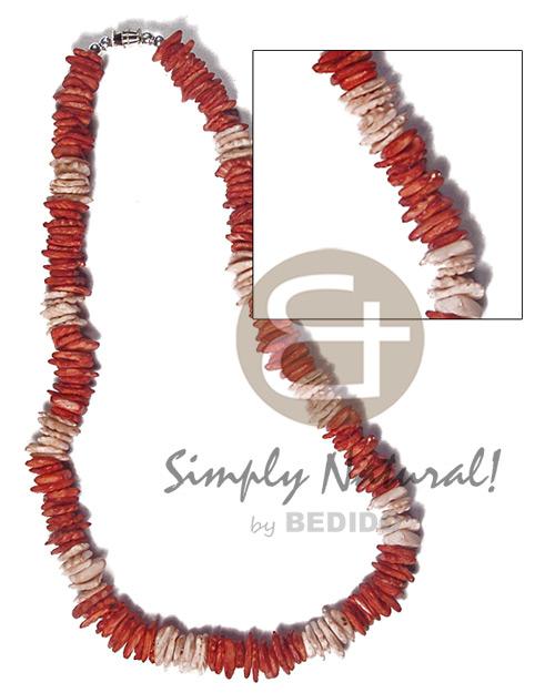 Brown White Rose Puka Shell Square Cut Glass Beads Puka Shell Necklace BFJ3725NK