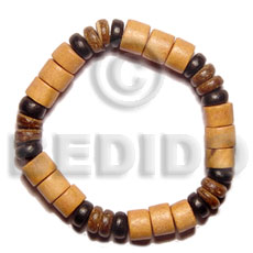Brown Wood Beads Coconut Elastic 7.5 inches Coconut Bracelets BFJ5057BR
