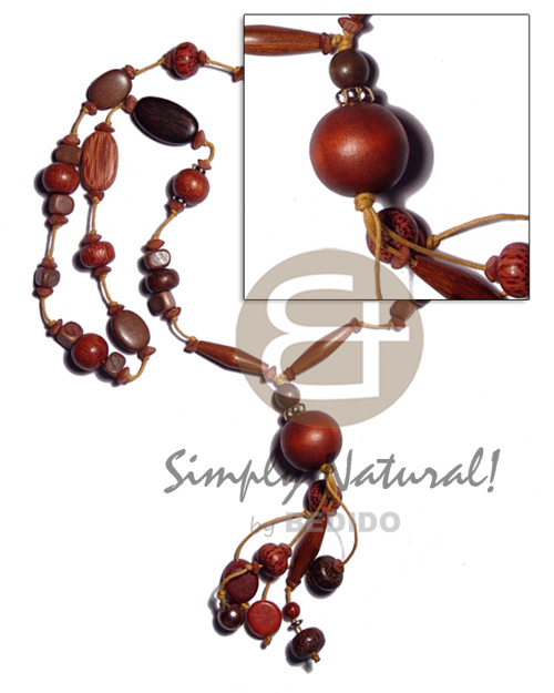 Brown Wood Beads Wax Cord 32 inches Waxed Wooden Necklaces BFJ1914NK