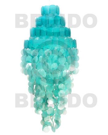 Capiz Shell Monogram Aqua Blue 43 inch Capiz Shell Chandeliers BFJ001CC
