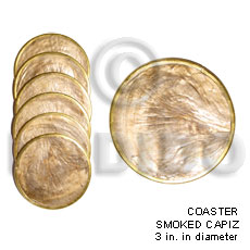Capiz Shell Natural 3 inch Laminated Round Brass GIFT AND DECORS BFJ025GD