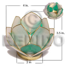 Capiz Shell Natural Brass White Green Flower GIFT AND DECORS BFJ062GD