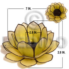 Capiz Shell Natural Brass White Yellow Flower GIFT AND DECORS BFJ051GD