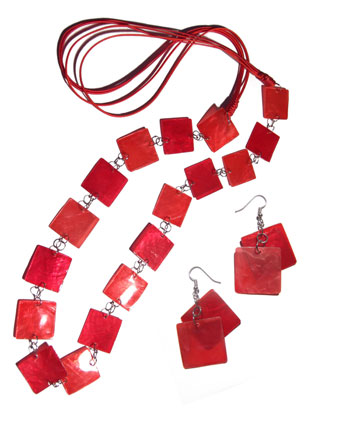 Capiz Shell Red Set Jewelry Earrings Necklace Set Jewelry BFJ197SJ