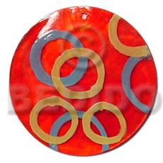 Capiz Shell Round Red 50 mm Pendants - Shell Pendants BFJ5367P