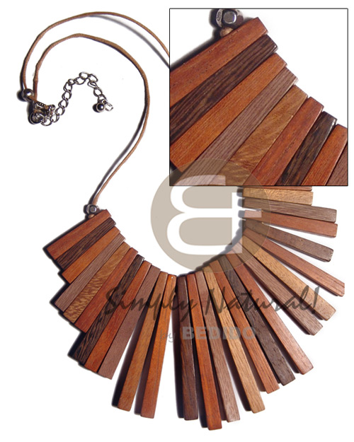 Cleopatra Wood Stick Robles Wood Bayong Wood Kamagong Wood Wooden Necklaces BFJ3410NK
