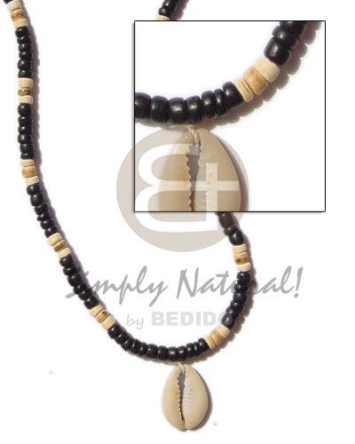 Coconut 4-5 mm Sigay Cowry Shell Black Coconut Necklace BFJ256NK
