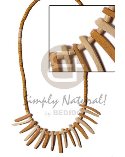 Coconut Beads Stick Tan Coconut Necklace BFJ335NK