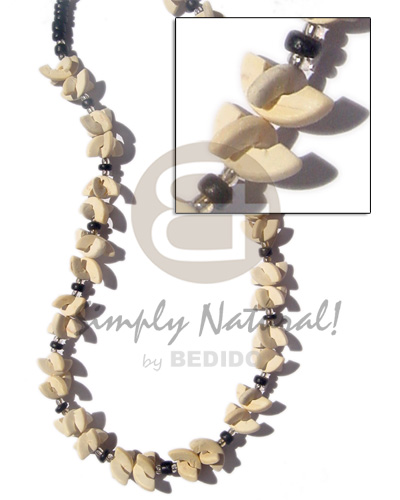 Coconut Half Moon Glass Beads Coconut Necklace BFJ261NK