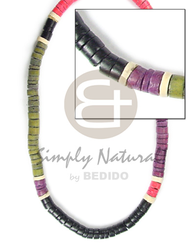 Coconut Heishi 4-5 mm Black Red Green Multi-Color Khaki Coconut Necklace BFJ049NK