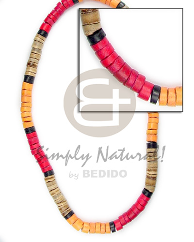 Coconut Heishi Brown Red Orange Black Multi-Color 4-5 mm Coconut Necklace BFJ043NK