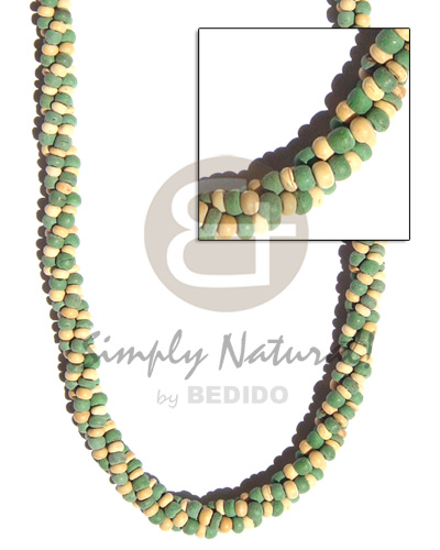 Coconut Multi Row Twist Green Natural Coconut Necklace BFJ163NK