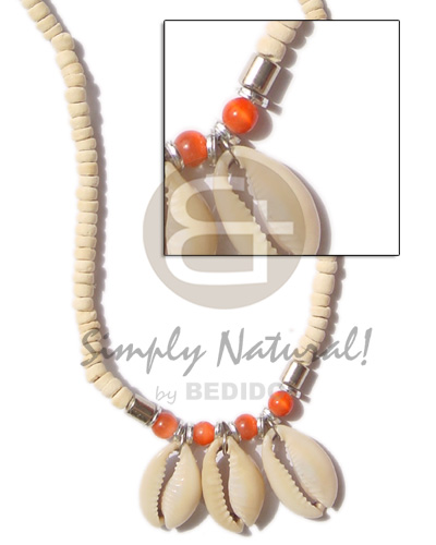 Coconut Orange Sigay Cowry Shell 4-5 mm Coconut Necklace BFJ255NK