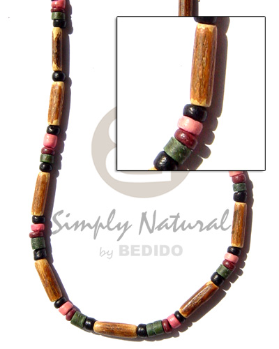 Coconut Pokalet Black Blue Maroon Multi-Color Bamboo Tube Coconut Necklace BFJ112NK