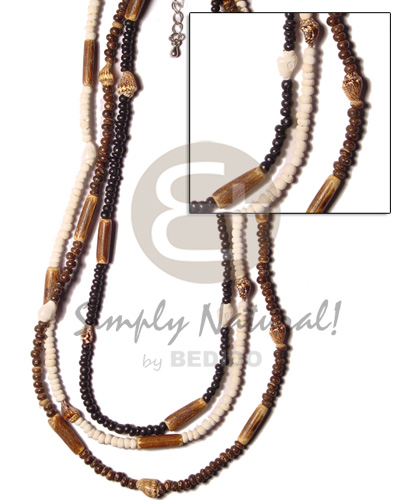 Coconut Pokalet Multi Row 2-3 mm Black Bleached White Brown Nassa White Shell Coconut Necklace BFJ387NK