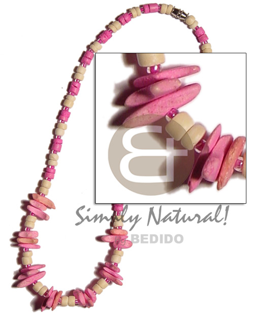 Coconut Pokalet Pink Chips 4-5 mm Coconut Necklace BFJ928NK