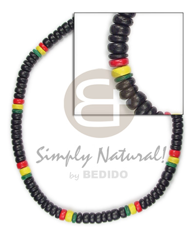 Coconut Pokalet Rasta 4-5 mm Dyed Black Yellow Red Green Unisex Reggae Rastafarian Accessory BFJ085NK