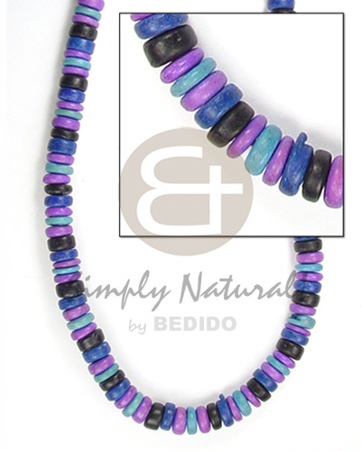Coconut Pokalet Violet Blue 7-8 mm Dyed Coconut Necklace BFJ054NK
