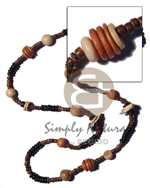 Coconut Pokalet Wood Beads Brown Black Coconut Necklace BFJ1861NK