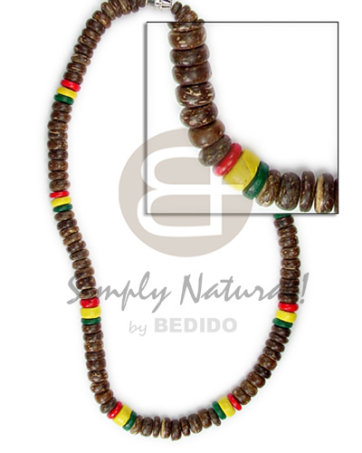 Coconut Rasta Brown 7-8 mm Yellow Black Red Green Unisex Reggae Rastafarian Accessory BFJ023NK