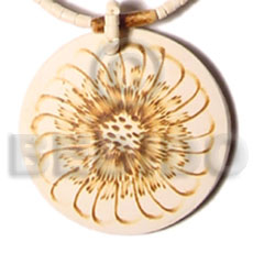 Coconut Round 50 mm Flower Brown Pendants - Coco Pendants BFJ5415P