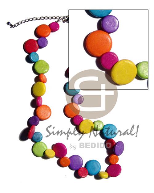 Coconut Side Drill Multi-Color Coconut Necklace BFJ1898NK