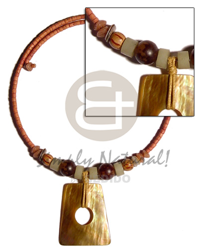 Coconut Wood Beads Tan Brown Lip Shell Coconut Necklace BFJ1364NK