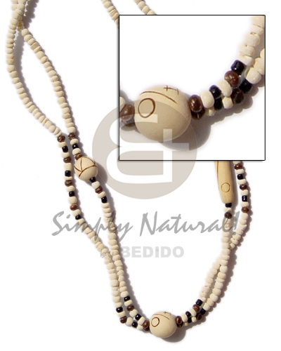 Coconut Wood Beads Tube 2-3 mm Coconut Necklace BFJ114NK