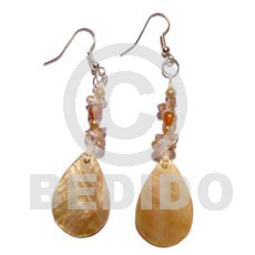 Dangling Brown Lip Shell Teardrop Horn Acrylic Crystals 18 mm Brown Shell Earrings BFJ703ER